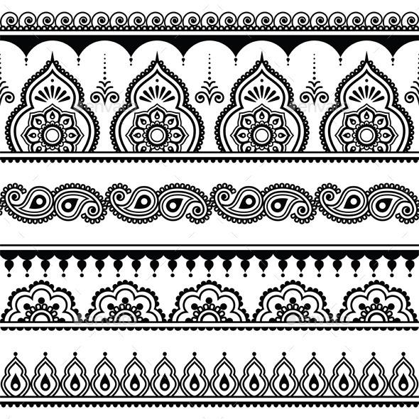 GraphicRiver Mehndi Indian Henna Tattoo Seamless Pattern 11556850