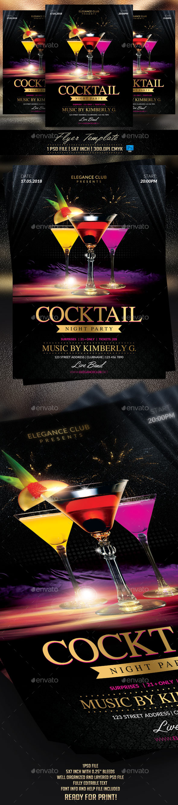 GraphicRiver Cocktail Night Party Flyer Template 11557147