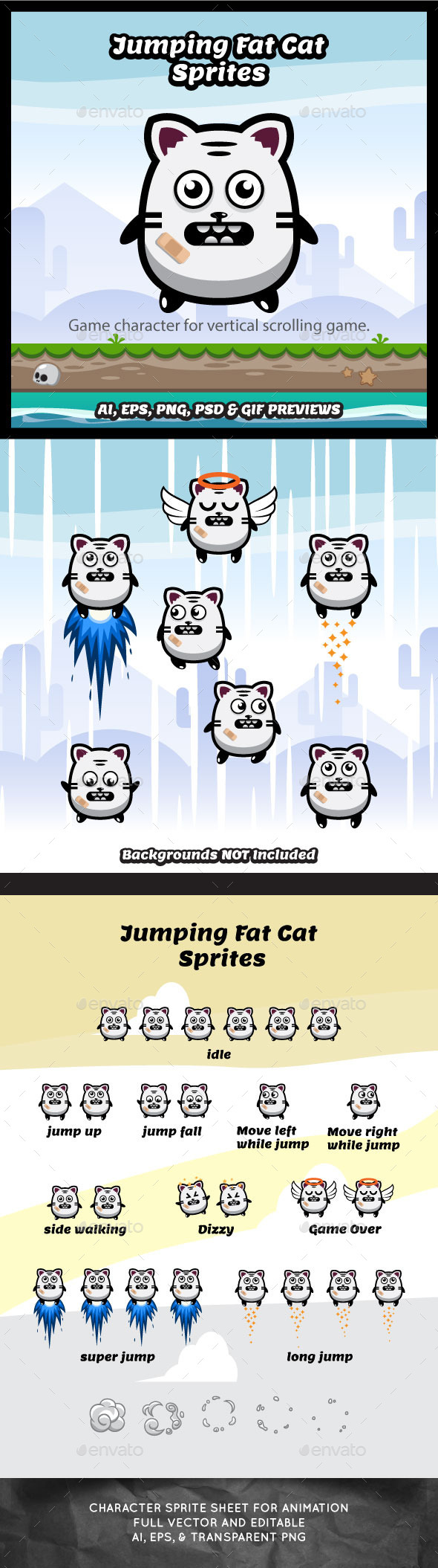 GraphicRiver Jumping Fat Cat Game Character Spritesheets 11557159