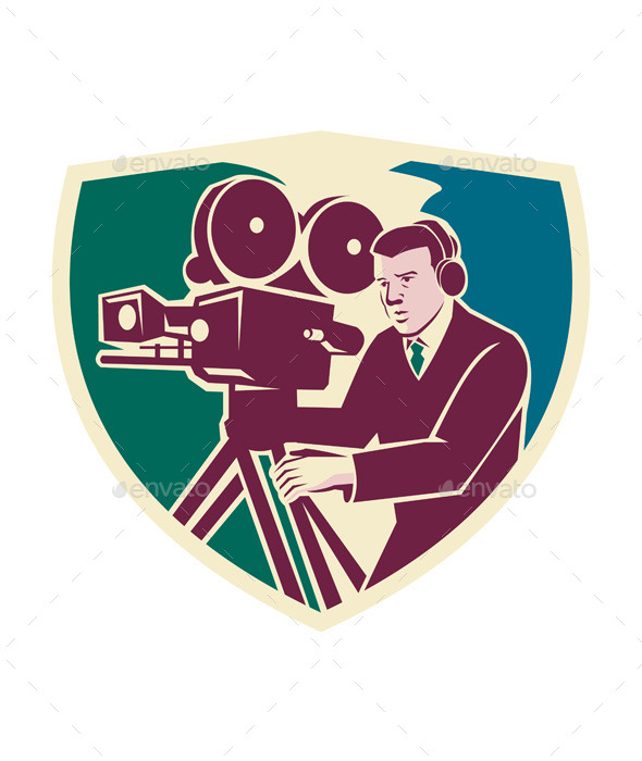 GraphicRiver Cameraman Moviemaker Vintage Camera Shield 11557229