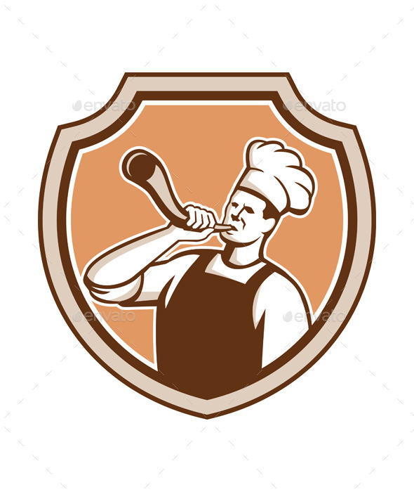 GraphicRiver Chef Cook Blowing Bullhorn Shield Retro 11557234