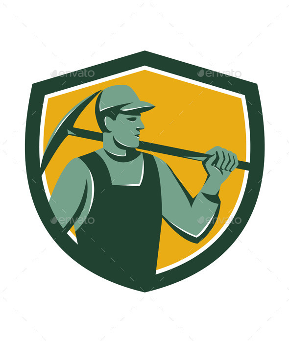 GraphicRiver Coal Miner With Pick Axe Shield Retro 11557245