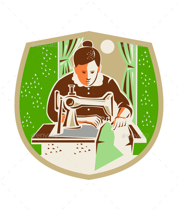 GraphicRiver Seamstress Dressmaker Sewing Shield Retro 11557262