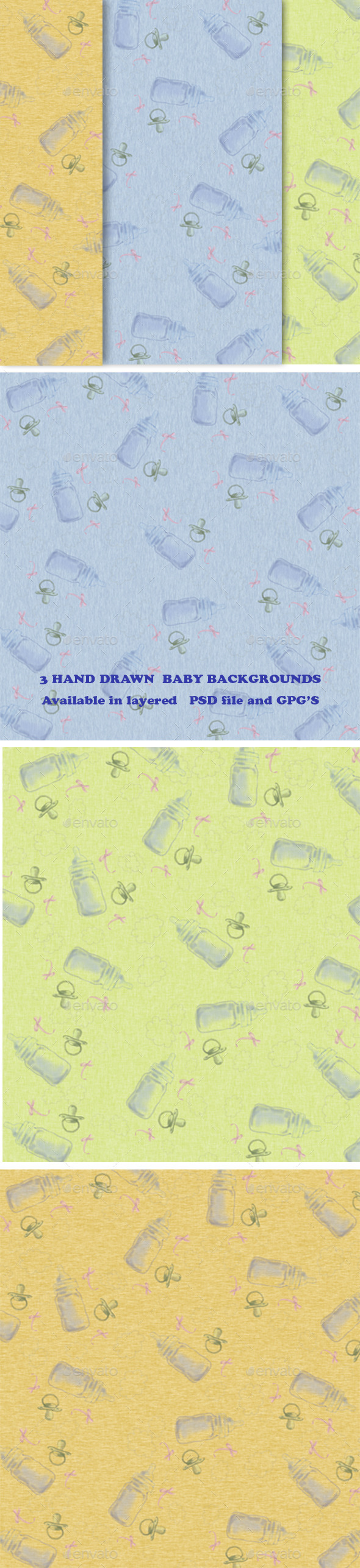 GraphicRiver Set of 3 Hand Drawen Baby Backgrounds 11557341