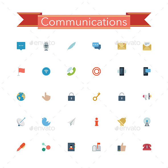 GraphicRiver Communications Flat Icons 11557514