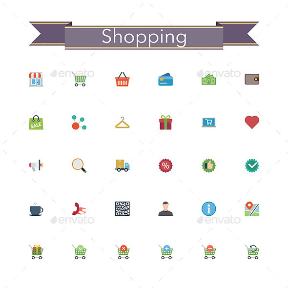 GraphicRiver Shopping Flat Icons 11557516