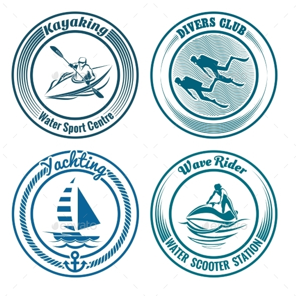GraphicRiver Water Sport Stamp Set 11557642