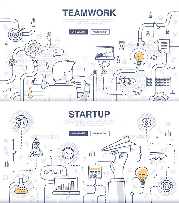 GraphicRiver Startup and Teamwork Doodle Concepts 11557739