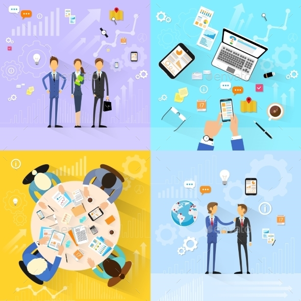 GraphicRiver Business People Group Working Set Handshake 11557742