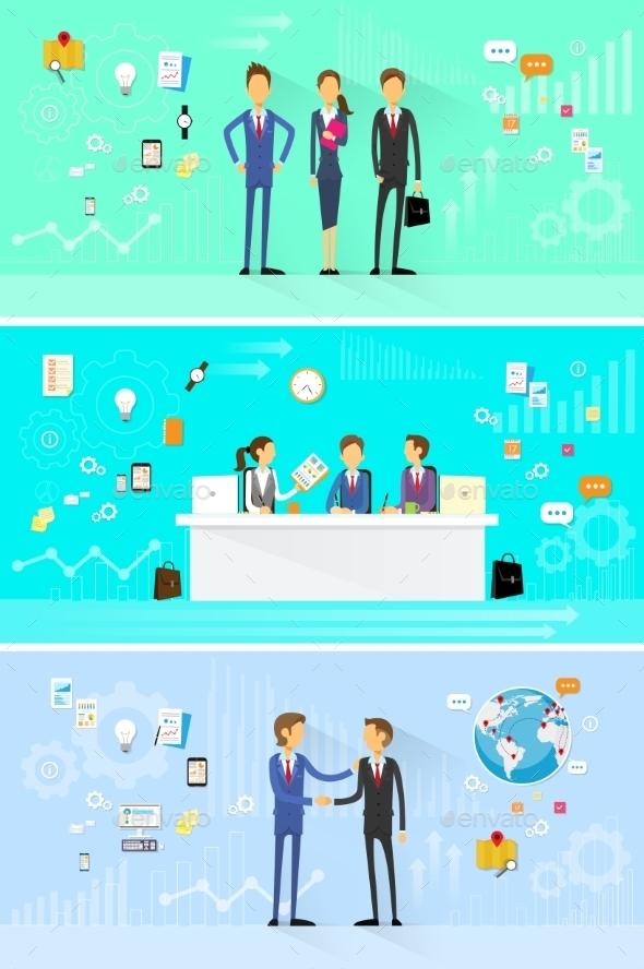 GraphicRiver Business People Group Working Set Handshake 11557799