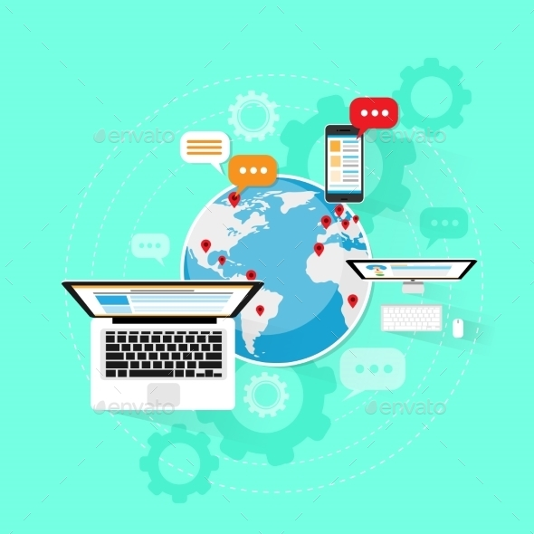 GraphicRiver Computer Device Internet Network Connection Laptop 11557864