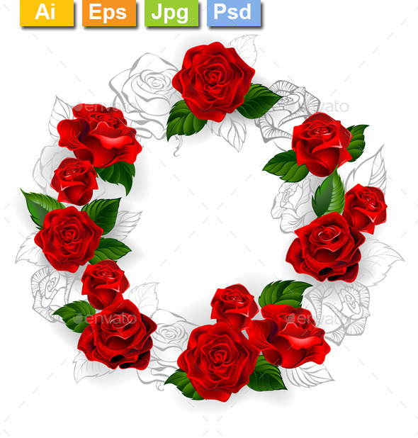 GraphicRiver Circle of Red Roses 11557865