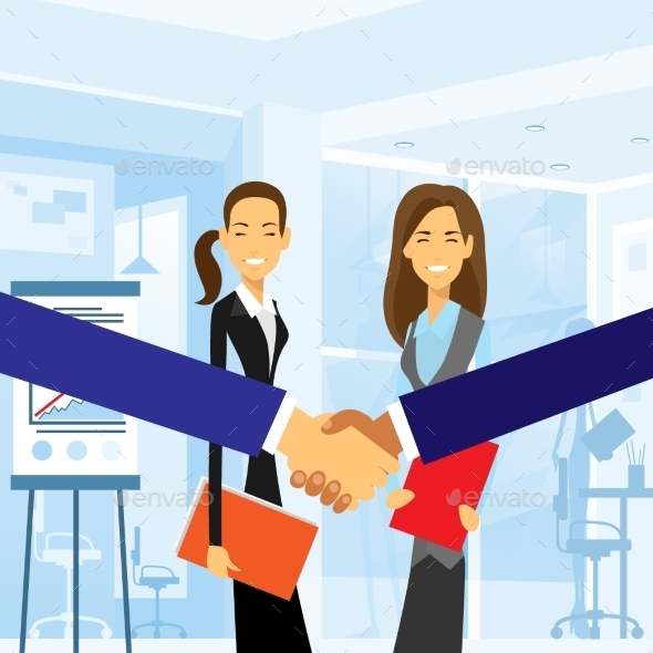 GraphicRiver Business Handshake With Women Background 11557871