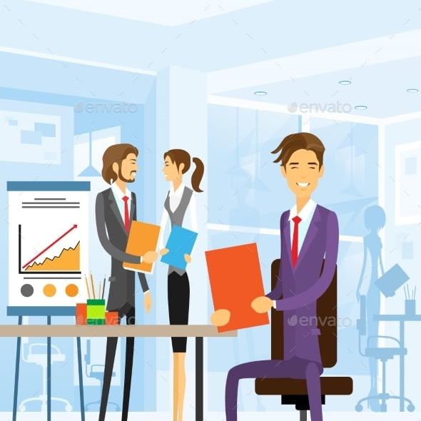GraphicRiver Business People Working Sitting At Office 11557875