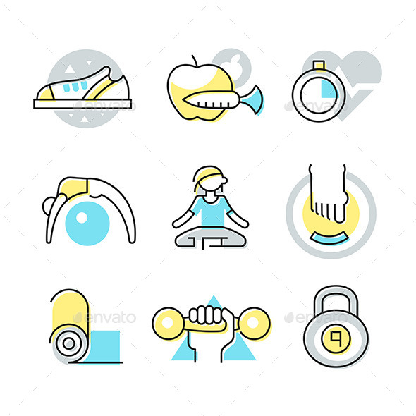 GraphicRiver Fitness and Body Care Icons 11557877