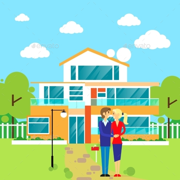 GraphicRiver Couple Embracing In Front Of New Big Modern House 11557963