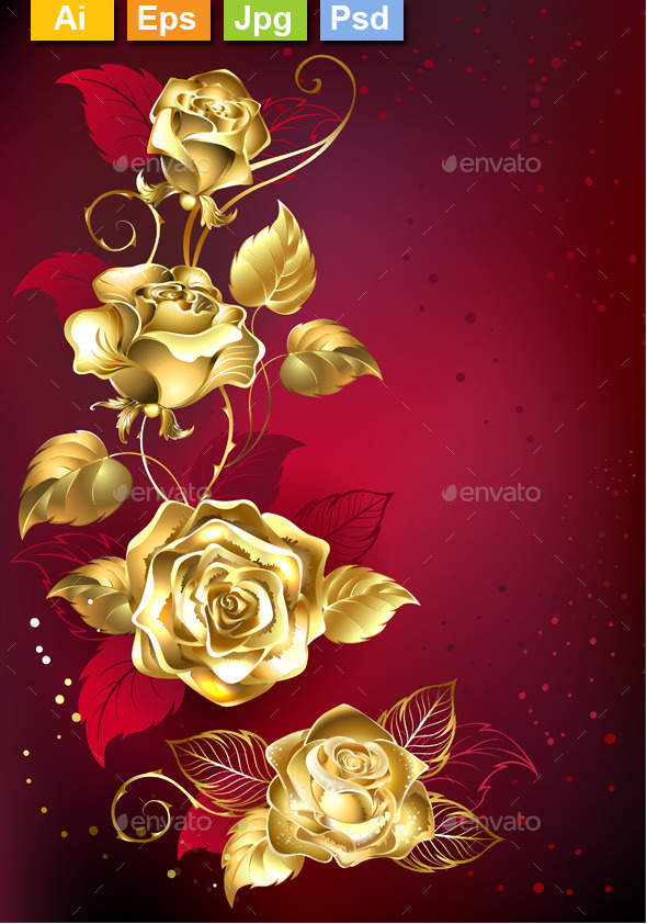 GraphicRiver Gold Roses on Red Background 11557992