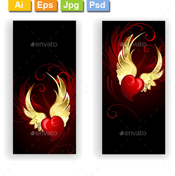 GraphicRiver Two Banners with Hearts Angel 11558030
