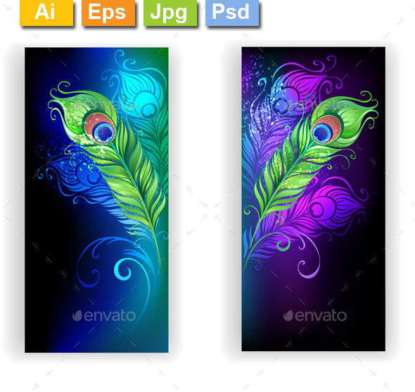 GraphicRiver Two Banners with Peacock Feathers 11558107