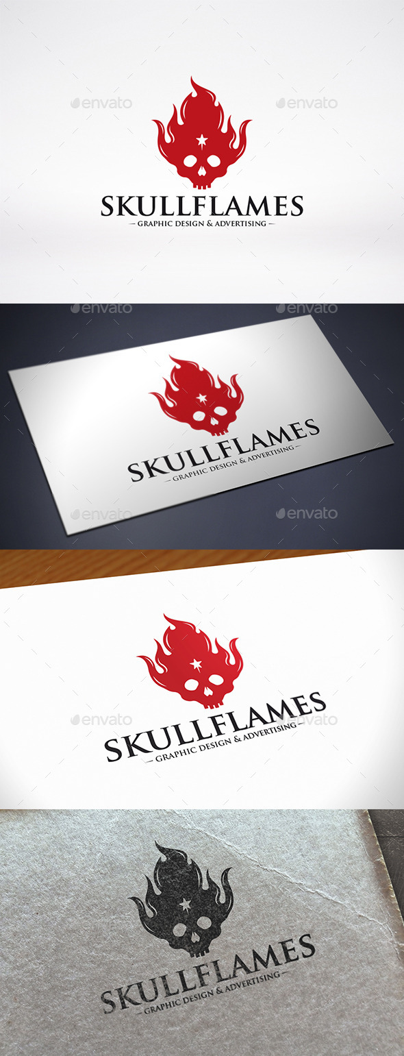 Skull Fire Logo Template