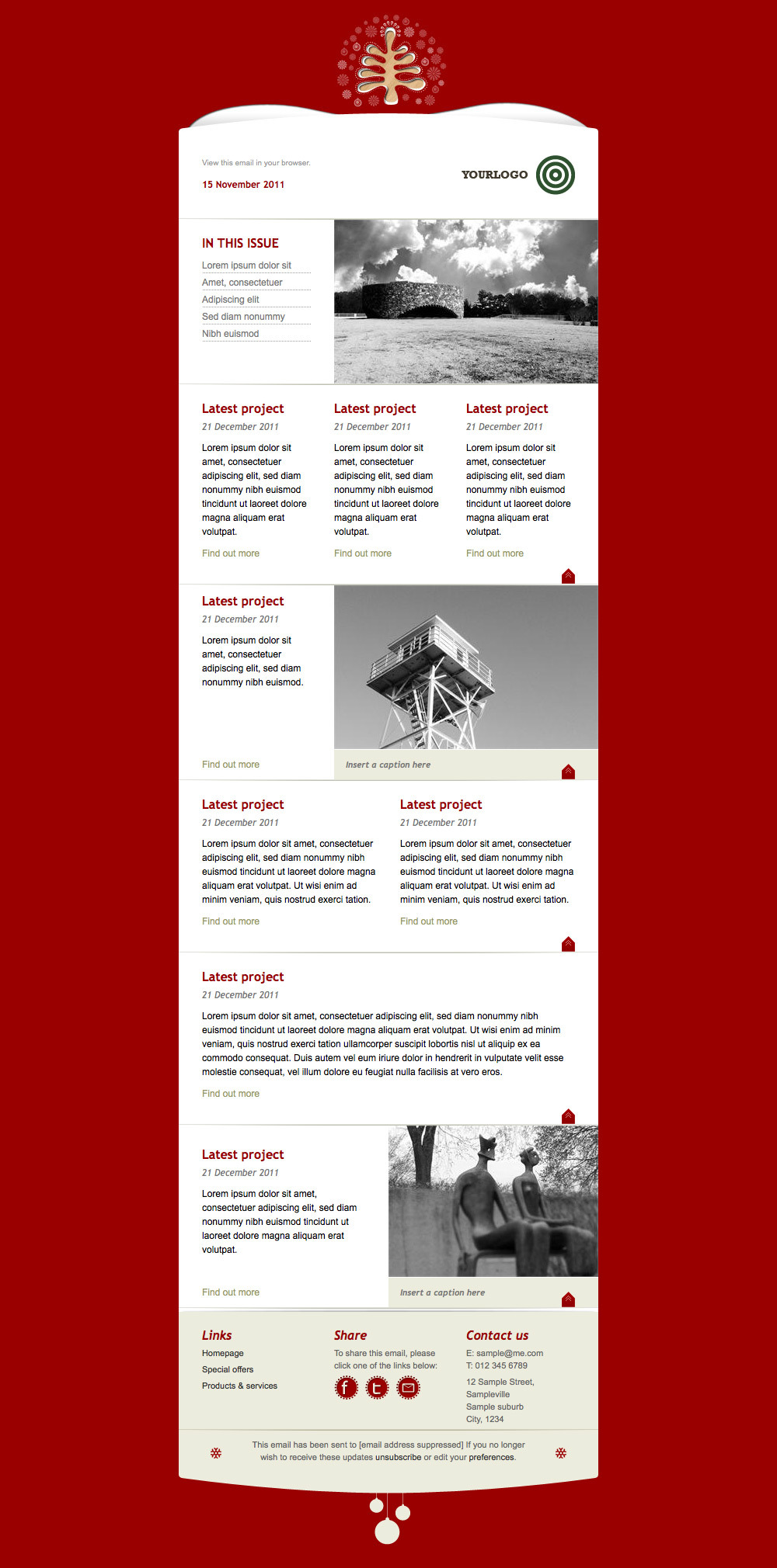 Simply Christmas 2 - Example layout of Red template applied for newsletter.