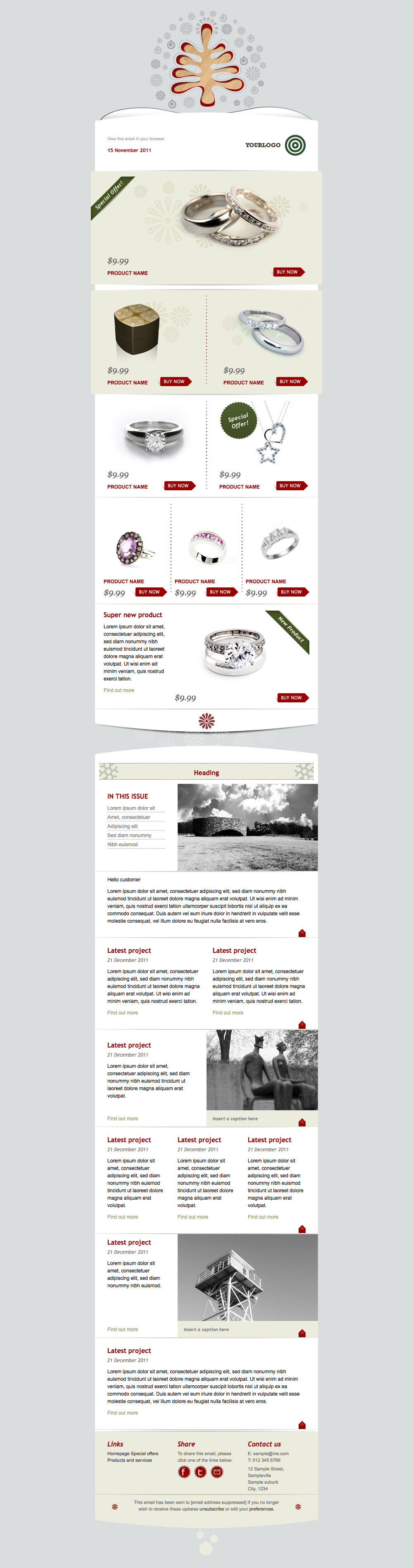 Simply Christmas 2 - Full silver template with all modules showing.