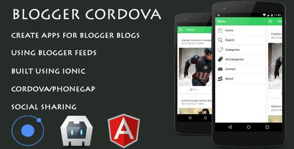 CodeCanyon BloggerCordova Ionic Cordova Phonegap Blogger App 11558502