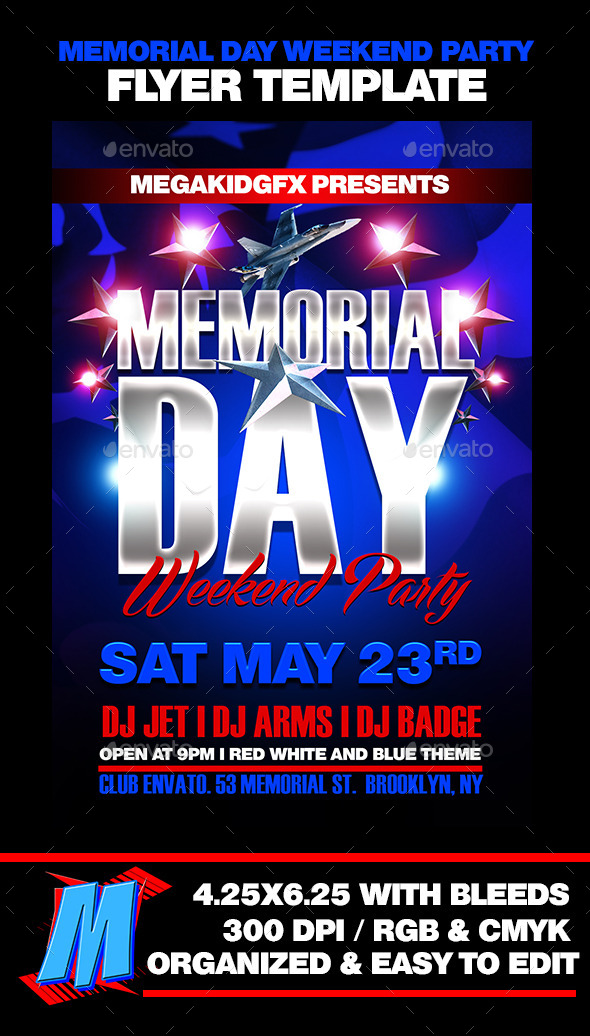 GraphicRiver Memorial Day Weekend Party Template 11558510