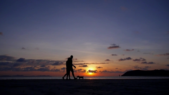 Happy Couple Walking With Dog At Sunset