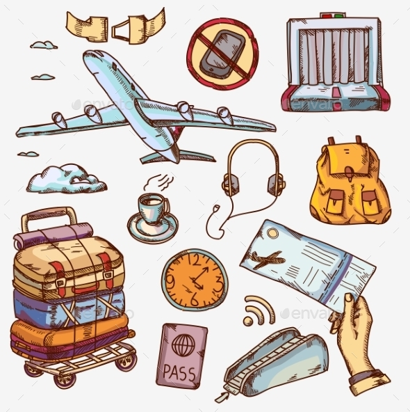GraphicRiver Airport And Air Travel Icons Concept Traveling 11559349