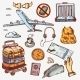 Airport And Air Travel Icons Concept Traveling - GraphicRiver Item for Sale
