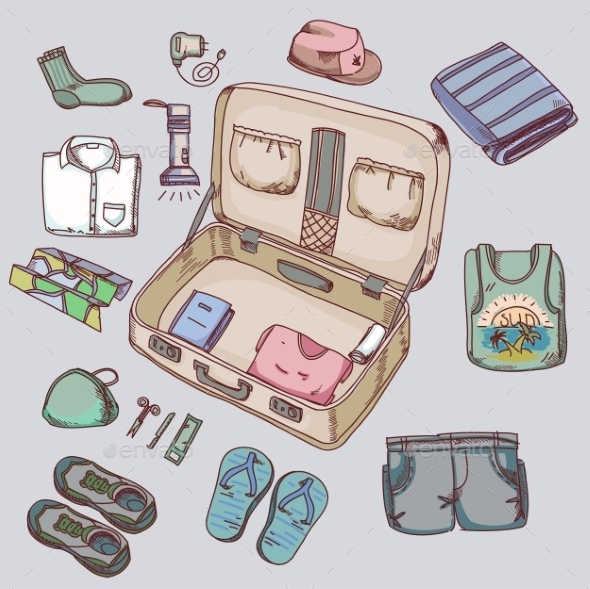 GraphicRiver Suitcase With Things Clothing For Travelling 11559351