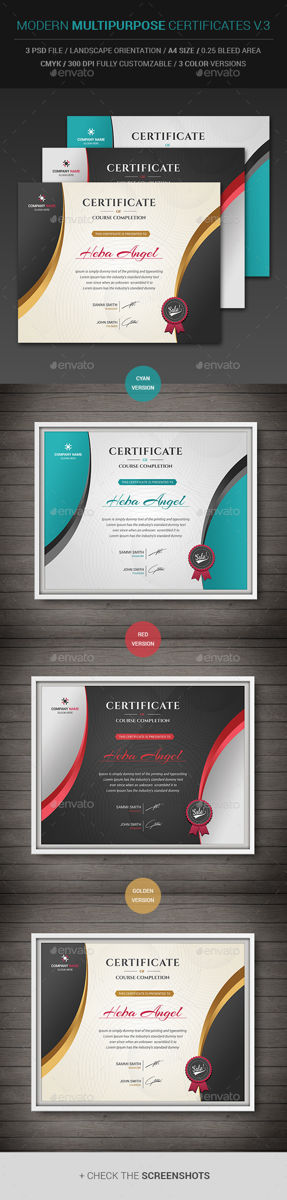 GraphicRiver Modern Multipurpose Certificates v.3 11559846