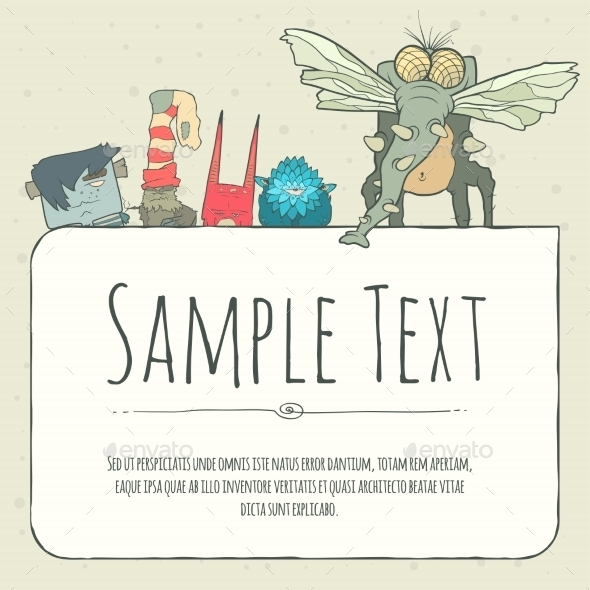 GraphicRiver Doodle Monster Greeteng Or Invitation Card 11559955