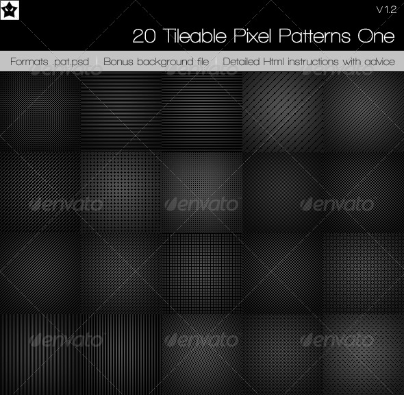 GraphicRiver 20 Tileable Pixel Patterns 1 65263