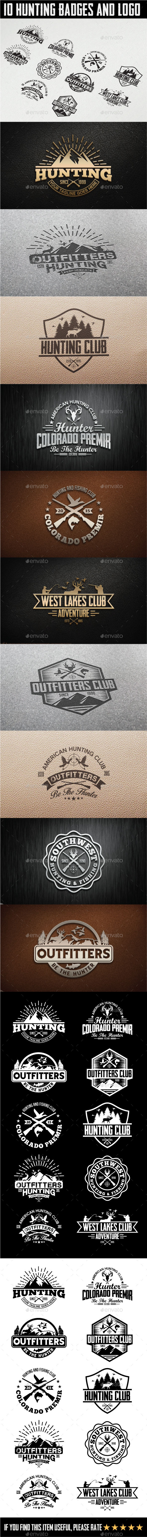 GraphicRiver 10 Hunting Vintage Badges and Logos 11560070