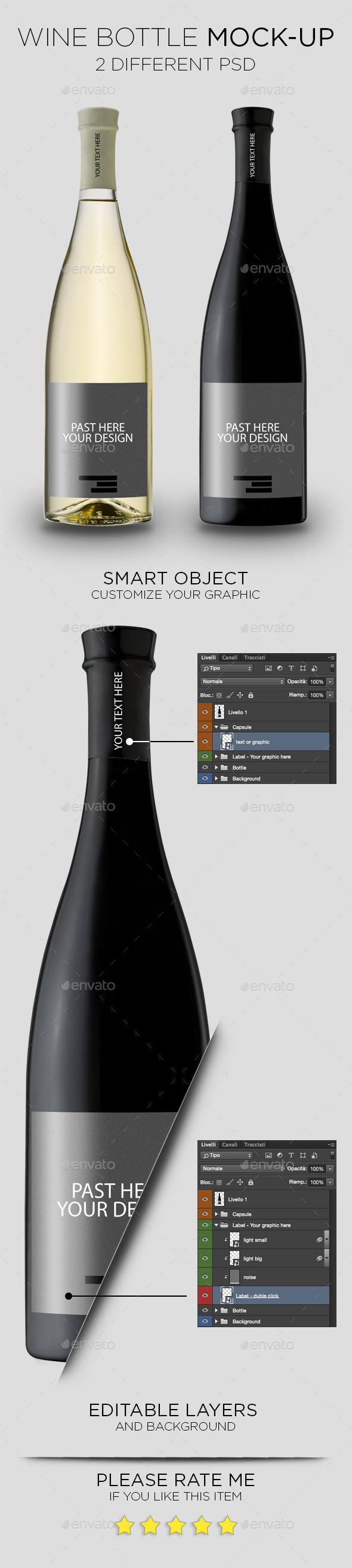 GraphicRiver Wine Bottle Mock-Up 11560086