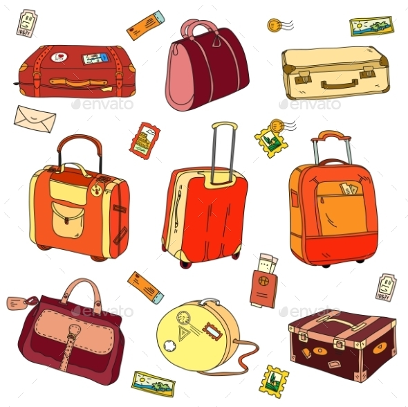 GraphicRiver Collection Of Vintage Travel Suitcases 11560513