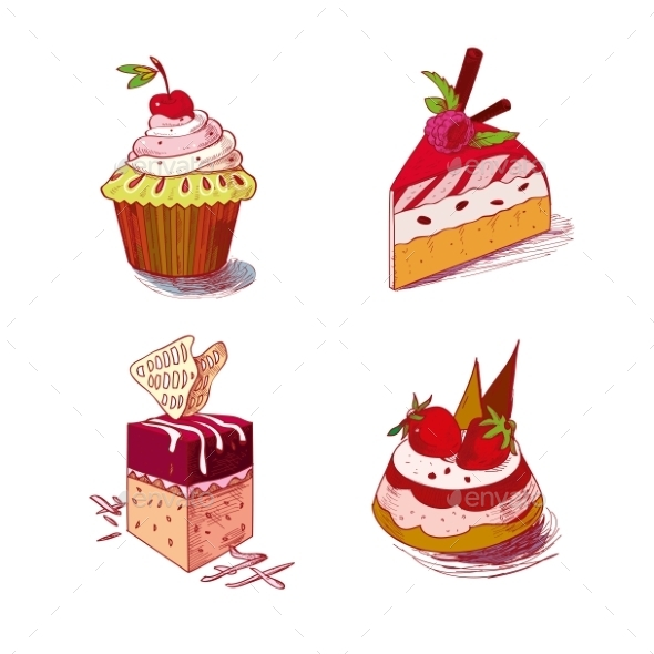 GraphicRiver Hand Drawn Confections Dessert Pastry Bakery 11560518