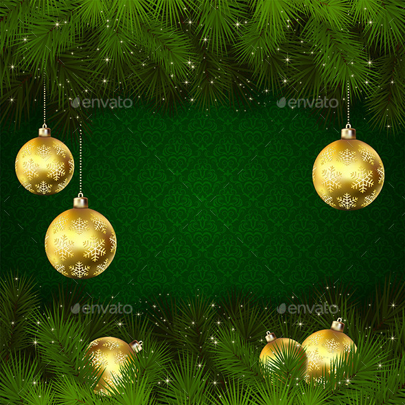 GraphicRiver Christmas Balls on Green Background 11560661