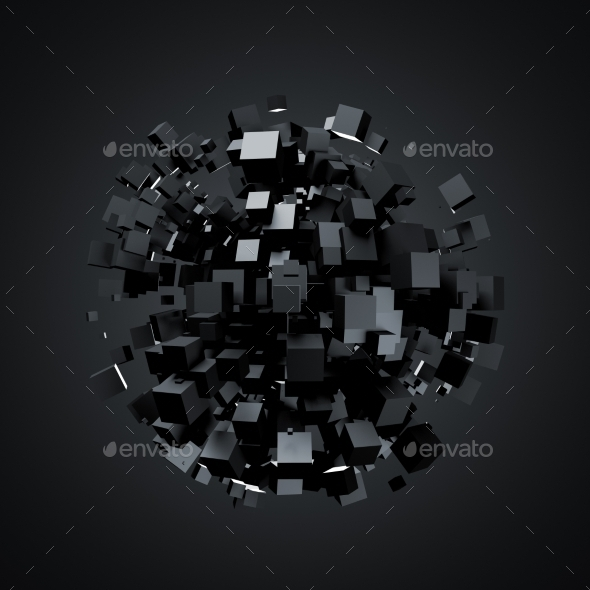 GraphicRiver Abstract 3D Rendering Of Black Cubes 11560993