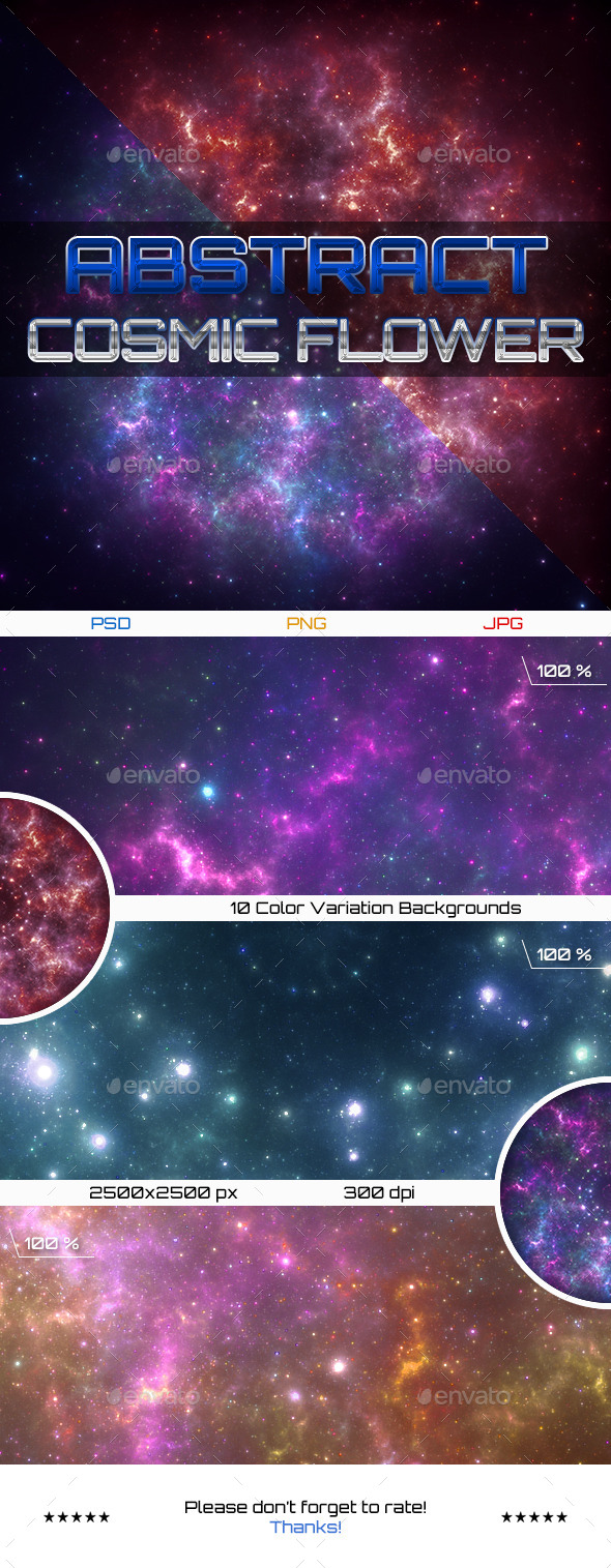 GraphicRiver Abstract Cosmic Flower Backgrounds 11561068