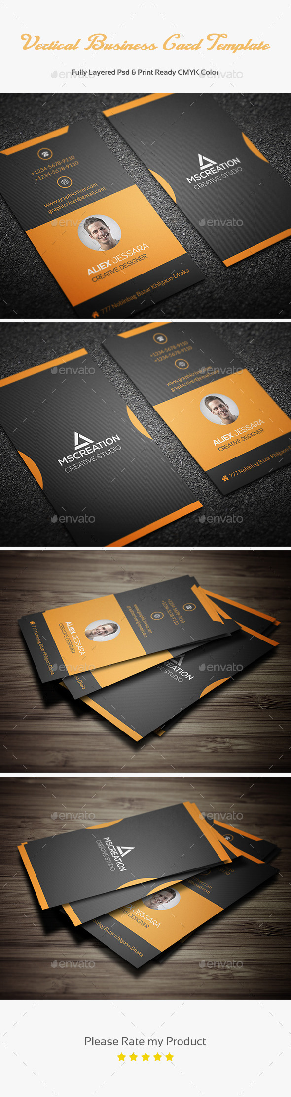 GraphicRiver Vertical Business Card Template 3 11561441