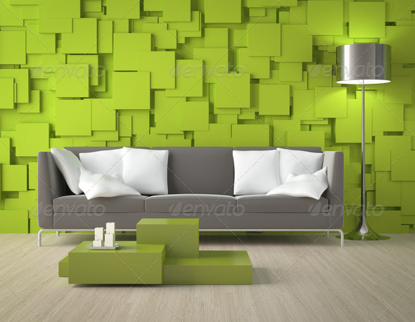 Green blocks wall and furniture - Stock Photo - Images