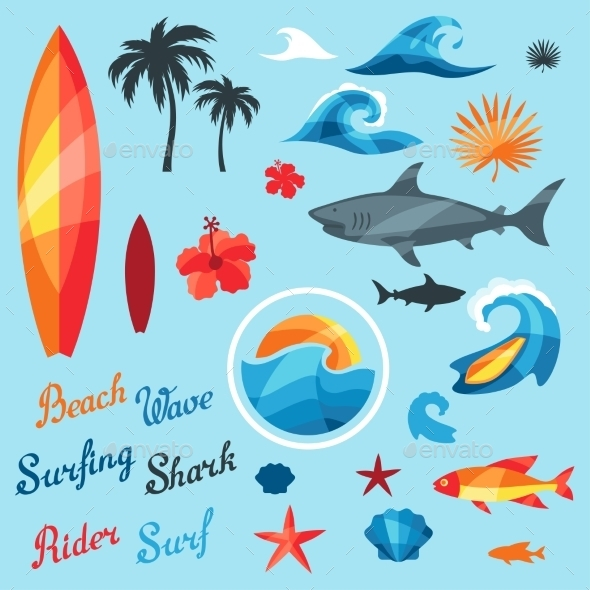 GraphicRiver Set Of Surfing Design Elements And Objects 11561814