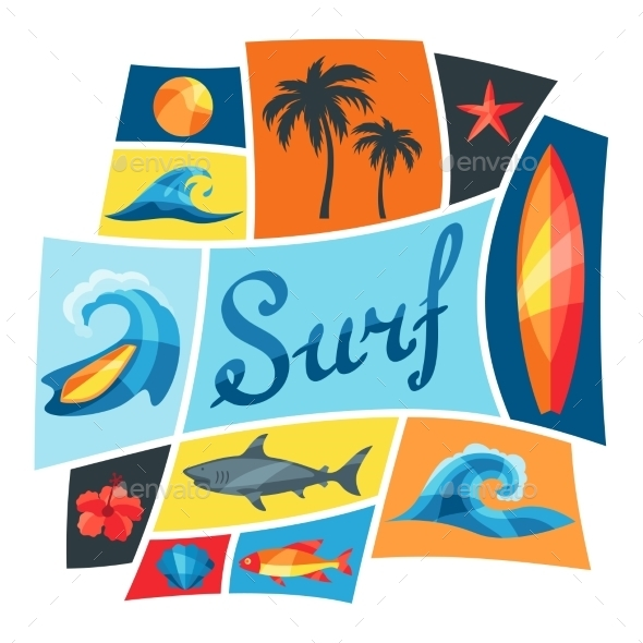 GraphicRiver Background With Surfing Design Elements 11561817