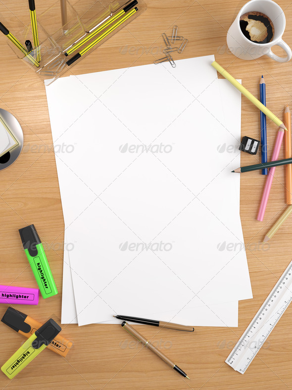 white empty sheet with lots of stationery objects makes a great copy space for you message or drawing