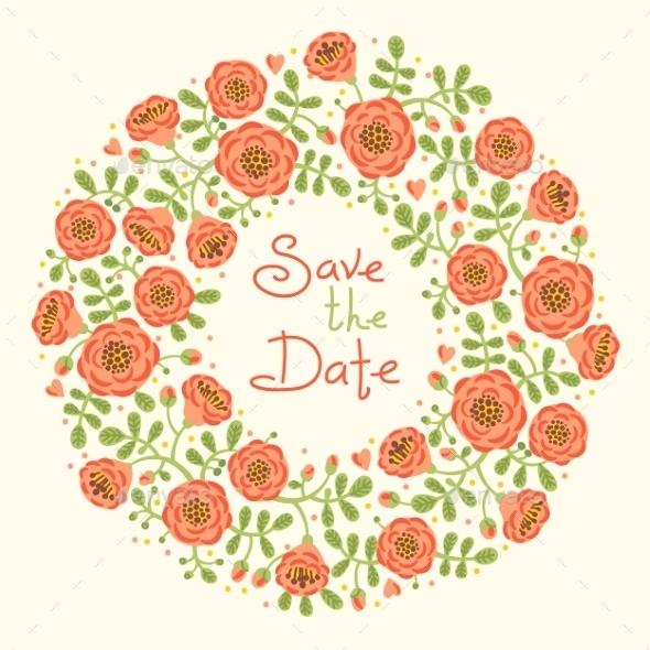 GraphicRiver Save The Date Invitation With Floral Wreath 11562137