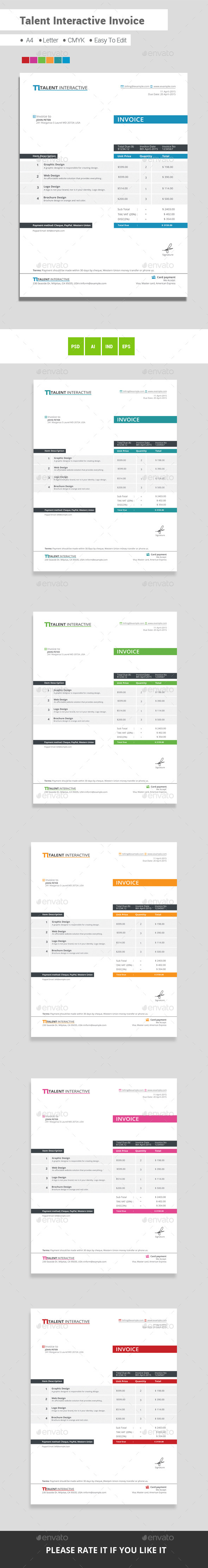GraphicRiver Talent Interactive Invoice 11444965