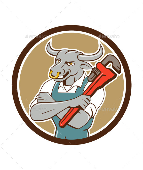 GraphicRiver Bull Plumber Wrench Standing Circle Cartoon 11562154